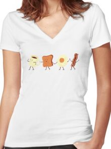 Let's All Go And Have Breakfast Women's Fitted V-Neck T-Shirt