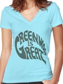 Greenwood Is Great Women's Fitted V-Neck T-Shirt