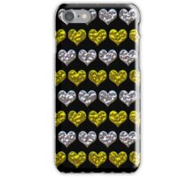 Silver and Gold Hearts Pattern iPhone Case/Skin