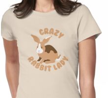 Crazy Rabbit Lady bunny (circle) Womens Fitted T-Shirt
