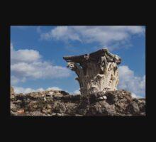 Ancient Pompeii Broken Treasures - Classical Corinthian Column Capital Right One Piece - Short Sleeve