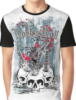 Skull - Rock and Roll Graphic T-Shirt