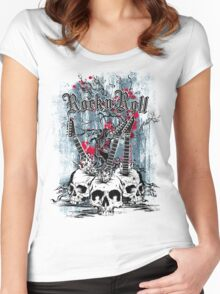 Skull - Rock and Roll Women's Fitted Scoop T-Shirt