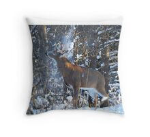 Snow Shower - White-tailed Buck Throw Pillow