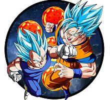Dragon Ball Z - Vegeta & Goku SSJ God III by J. Danion