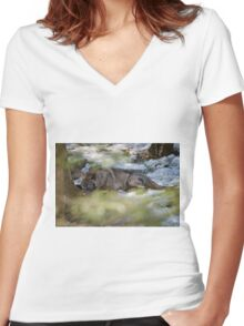 Sleeping Black wolf Women's Fitted V-Neck T-Shirt