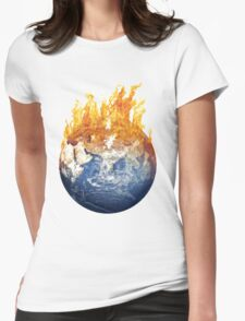 Earth global warming Womens Fitted T-Shirt