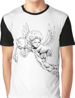 Black and white Cute Angel with heart Graphic T-Shirt