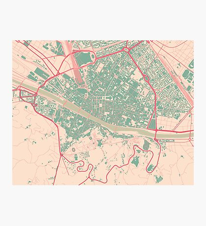 Firenze Map (Springtime) Photographic Print