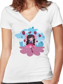 Cute cartoon love fairy with hearts and balloons Women's Fitted V-Neck T-Shirt