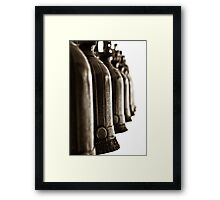 Bronze bells hang - Black and white Framed Print