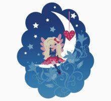Cute love fairy with heart on the moon Kids Tee