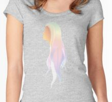 Hipster long-hair Girl Women's Fitted Scoop T-Shirt