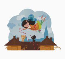 Cute cartoon love fairy with hearts and cats Kids Tee