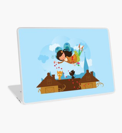 Cute cartoon love fairy with hearts and cats Laptop Skin