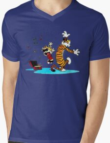 Calvin and Hobbes Dance Mens V-Neck T-Shirt