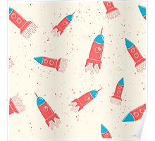 Hand drawn pattern rockets Poster