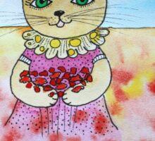 A cat in a flower field Sticker
