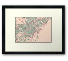 Barcelona Map (Springtime) Framed Print