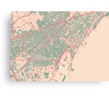 Barcelona Map (Springtime) Canvas Print