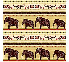 African style seamless pattern with elephant Photographic Print