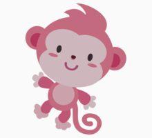 Cute Pink Monkey Design Kids Tee