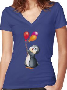 penguins in Antarctica  Women's Fitted V-Neck T-Shirt