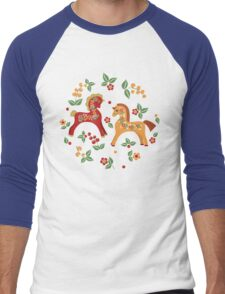 Folk horses pattern  Men's Baseball ¾ T-Shirt