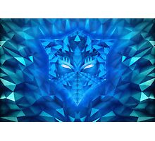 Deep Ice Blue - Sub Zero Transformers Wolf Mask Portait  Photographic Print
