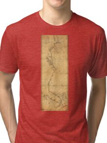 Map of North America Cape Cod to Havannah (1784) Tri-blend T-Shirt