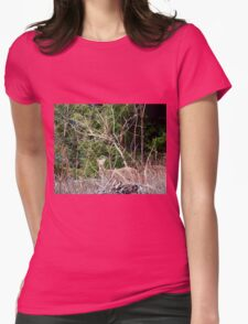 White Tailed Deer through Brush Womens Fitted T-Shirt