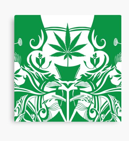 Cannabis Illustration in the Art Nouveau Style Canvas Print