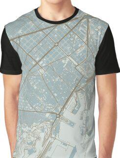 Barcelona Map (Winter) Graphic T-Shirt