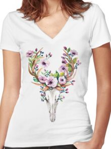 Watercolour skull with purple flower crown Women's Fitted V-Neck T-Shirt