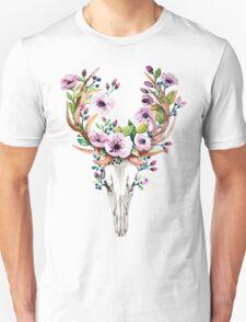 Boho watercolour skull with purple flower crown Unisex T-Shirt