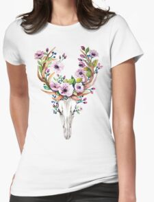 Watercolour skull with purple flower crown Womens Fitted T-Shirt