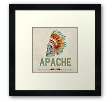 Apache Skullhead indians tribal feather Graphic T-shirt Framed Print