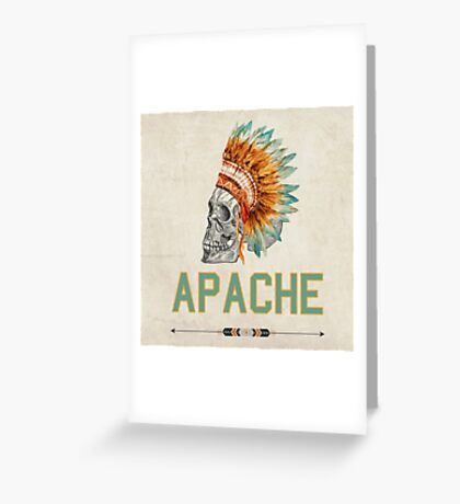 Apache Skullhead indians tribal feather Graphic T-shirt Greeting Card