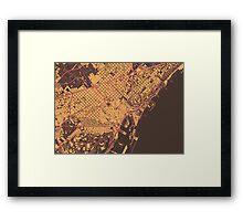 Barcelona Map (Summer) Framed Print