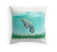 Mossy Manatee ~ Watercolor Throw Pillow