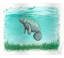 Mossy Manatee ~ Watercolor Poster