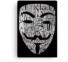 V For Vendetta - Guy Fawkes Masks - Typography Canvas Print