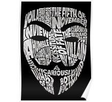 V For Vendetta - Guy Fawkes Masks - Typography Poster