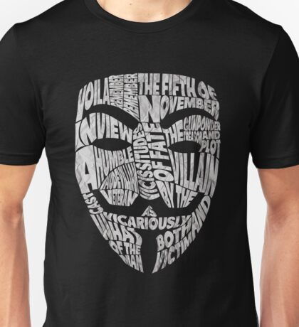 V For Vendetta - Guy Fawkes Masks - Typography Unisex T-Shirt