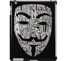 V For Vendetta - Guy Fawkes Masks - Typography iPad Case/Skin
