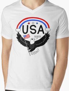 FOURTH OF JULY EAGLE Mens V-Neck T-Shirt