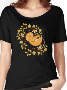 Sleepy sloth in a wreath of flowers Women's Relaxed Fit T-Shirt