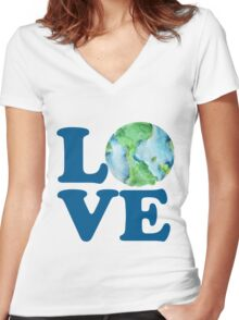 Earth Day Love Women's Fitted V-Neck T-Shirt