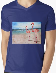 Two Flamingos on the Beach Mens V-Neck T-Shirt