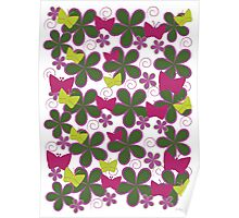 Spring Butterflies | Pink and Green Poster